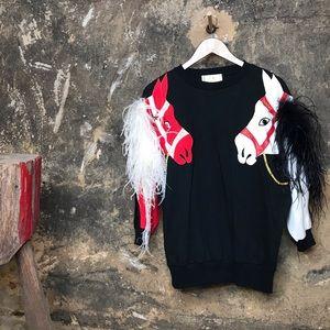 Vintage horse sweater w marabou feather mane